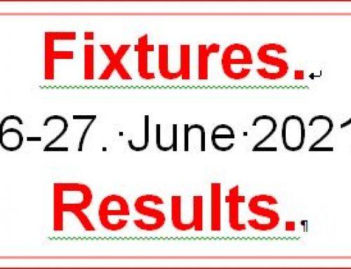 Fixtures 26-27 June 21
