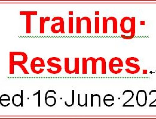 Training Resumes. Wed 16 June 2021
