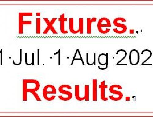 Fixtures 31 July. – 1 August 21