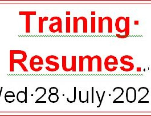 Training Resumes. Wed 28 July  2021