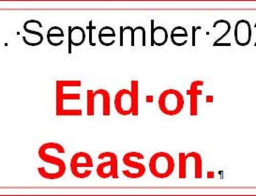 11 Sept 2021. End of Season Letter